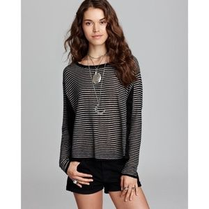 Free People Love Me Do Striped Boho Lace Pullover